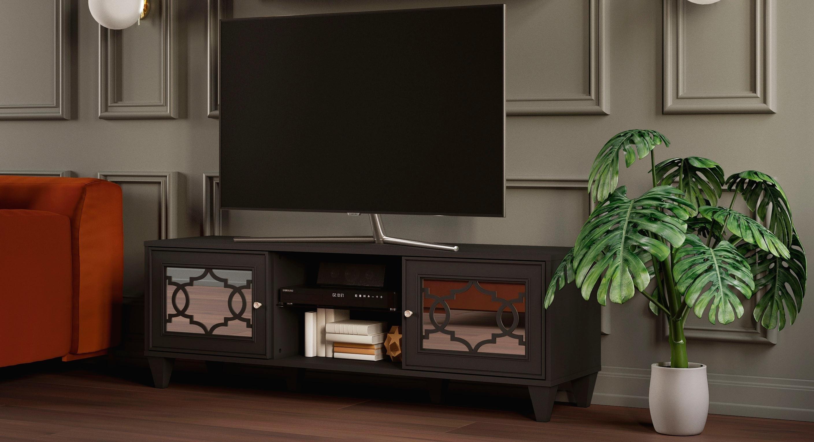 Leonique tv-meubel Jessica met spiegelfront en mooi uitgefreesde profielen, tv-tafel veilig op otto.nl kopen