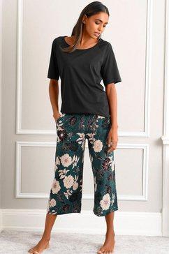 s.oliver red label beachwear capripyjama met gebloemde 3-4-culotte zwart