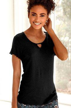 s.oliver red label beachwear t-shirt van geribde stof met rimpelrandjes zwart