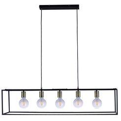 places of style hanglamp canopy hanglamp zwart met messingkleurige details, ophangvoorziening 150 cm, dimbaar met een wandschakelaar zwart