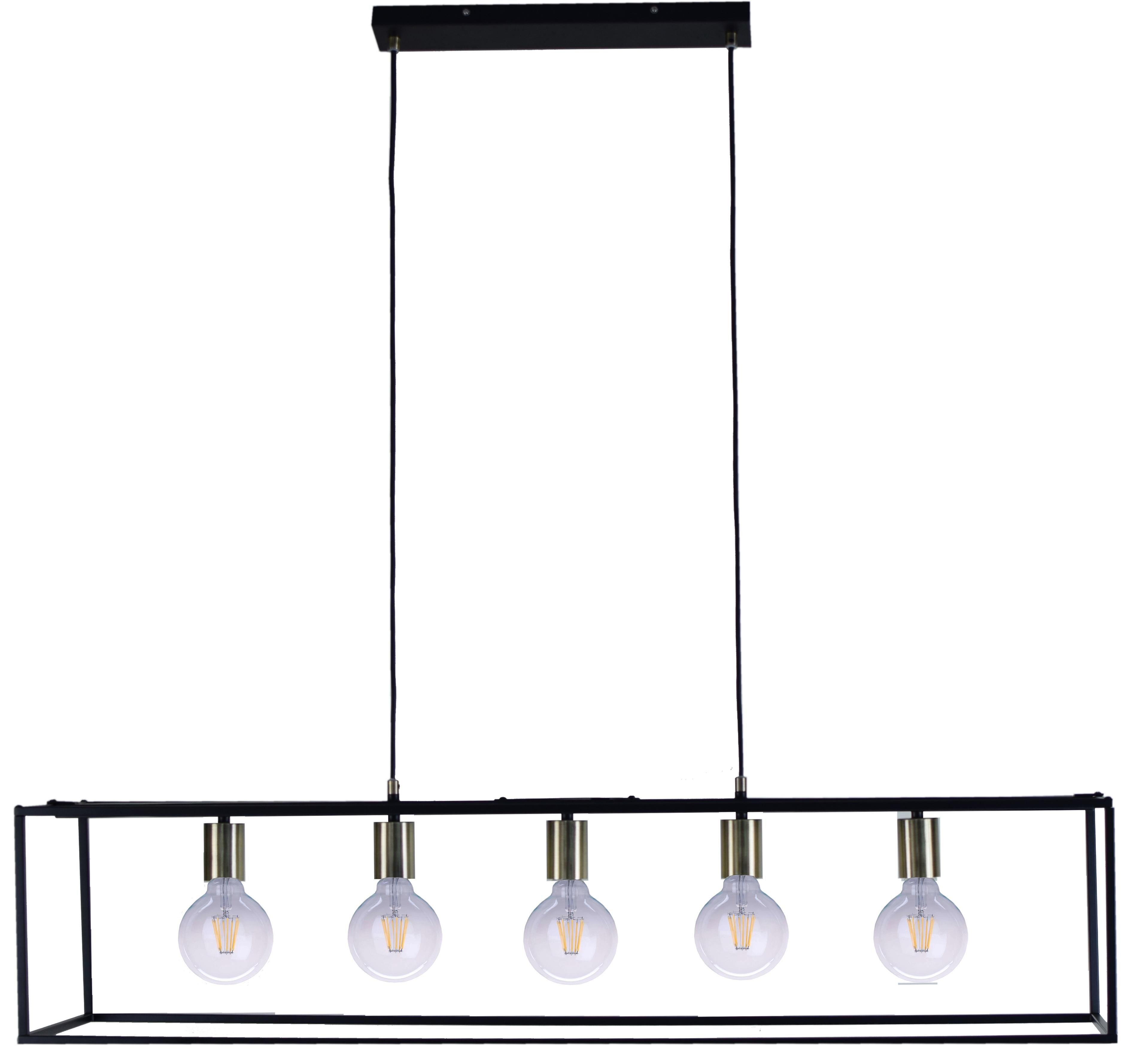 Places of Style hanglamp CANOPY Hanglamp zwart met messingkleurige details, ophangvoorziening 150 cm, dimbaar met een wandschakelaar nu online bestellen