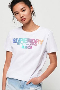 superdry t-shirt »city nights ombre puff entry tee« wit