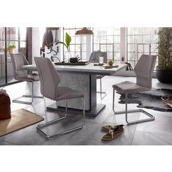 homexperts eethoek »baerbel-amelie«, breedte 160 cm met lade en 4 stoelen grijs