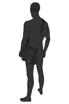 camel active schoudertas van krinkel-nylon zwart