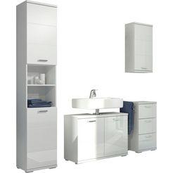 homexperts badkamerserie nusa hoge kast, wastafelonderkast, hangend kastje en onderkast, badkamerkast met metalen handgrepen en mdf-fronten in hoogglans-look (4 stuks) wit