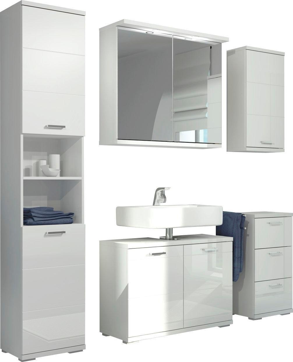 Homexperts badkamerserie Nusa spiegelkast inclusief ledverlichting, hoge kast, wastafelonderkast, hangend kastje en onderkast, badkamerkast met metalen handgrepen en mdf-fronten in hoogglans-look (5 stuks) goedkoop op otto.nl kopen