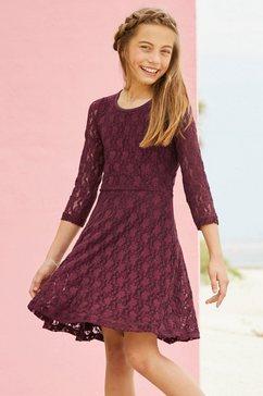 arizona jurk met mouwen van elastische kant rood