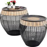 kare bijzettafeltje »african drums« (2-delige set) zwart