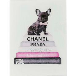 kare print op glas »fashion dog« roze