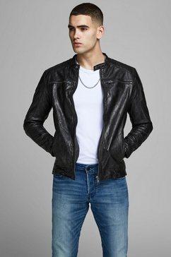 jack  jones leren jack »liam leather jacket« zwart
