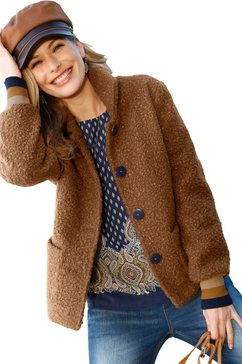 classic inspirationen jas van zacht bouclé bruin