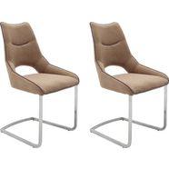mca furniture vrijdragende stoel aldrina stoel tot 120 kg belastbaar (set, 2 stuks) bruin