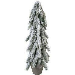kunstboom dennengroen in de pan met decoratieve sneeuw groen