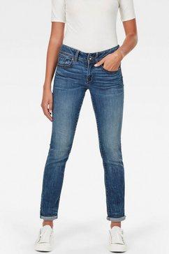 g-star raw slim fit jeans midge mid straight wmn met used-effecten blauw