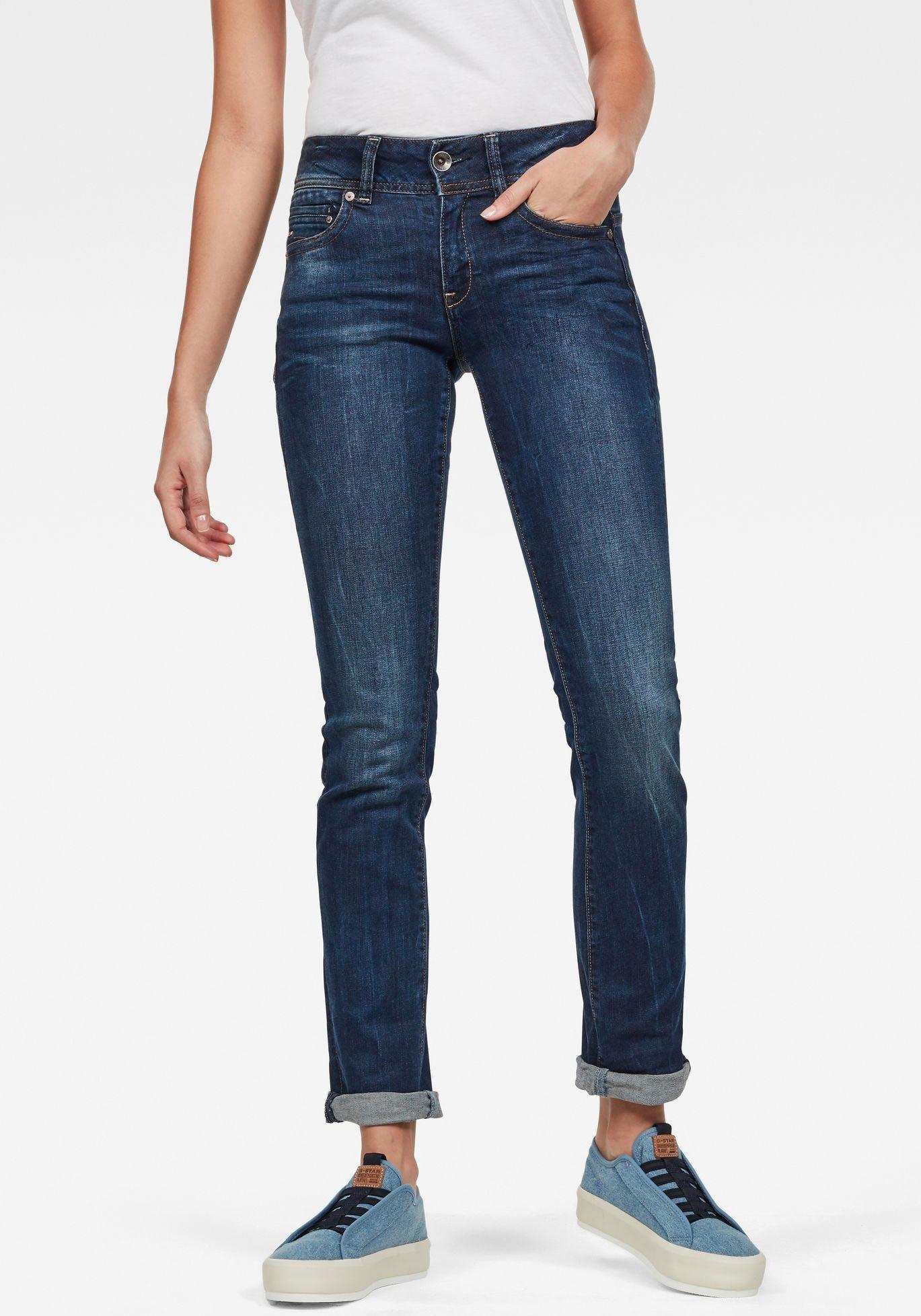 G-Star RAW slim fit jeans Midge Mid Straight Wmn met used-effecten - verschillende betaalmethodes