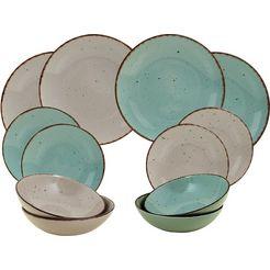 arte viva eetservies puro kleurenset in turquoise en beige, aanbevolen door de topkok thomas wohlfarter (set, 12-delig) blauw