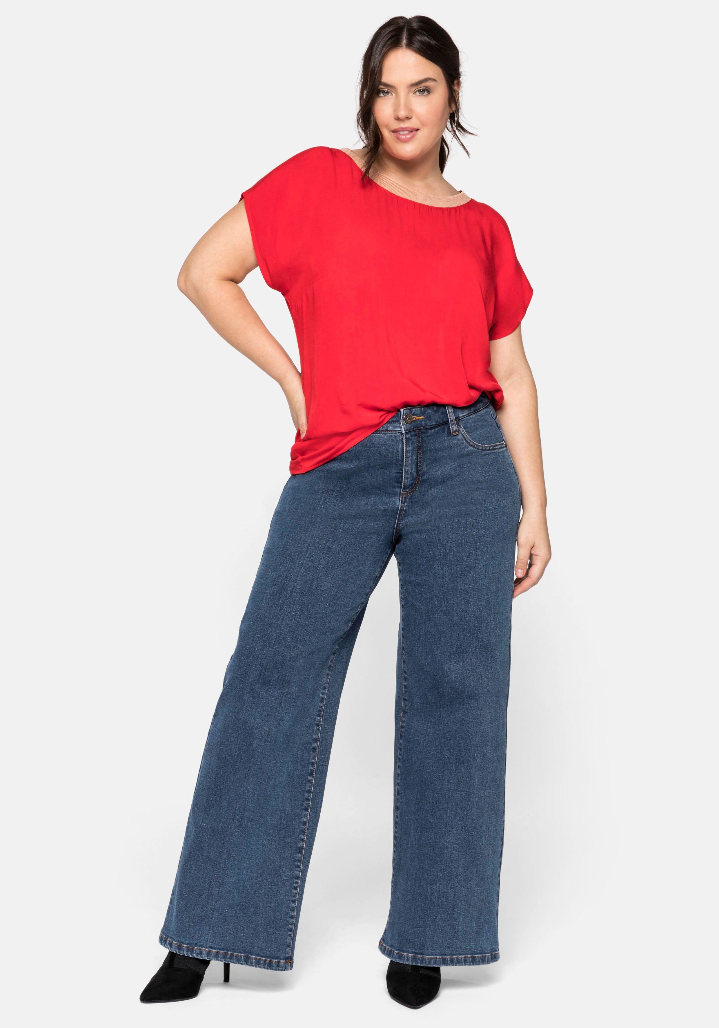 Sheego stretch jeans in rechte, wijde snit nu online kopen bij OTTO