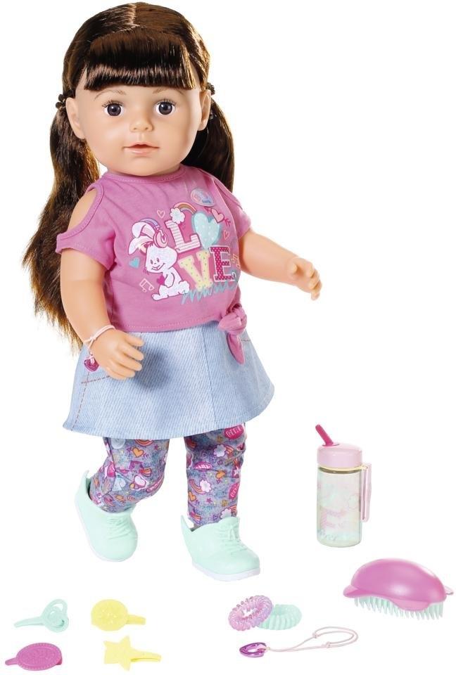 Baby Born staande pop Softtouch Sister 43ch, brunette interactief - verschillende betaalmethodes