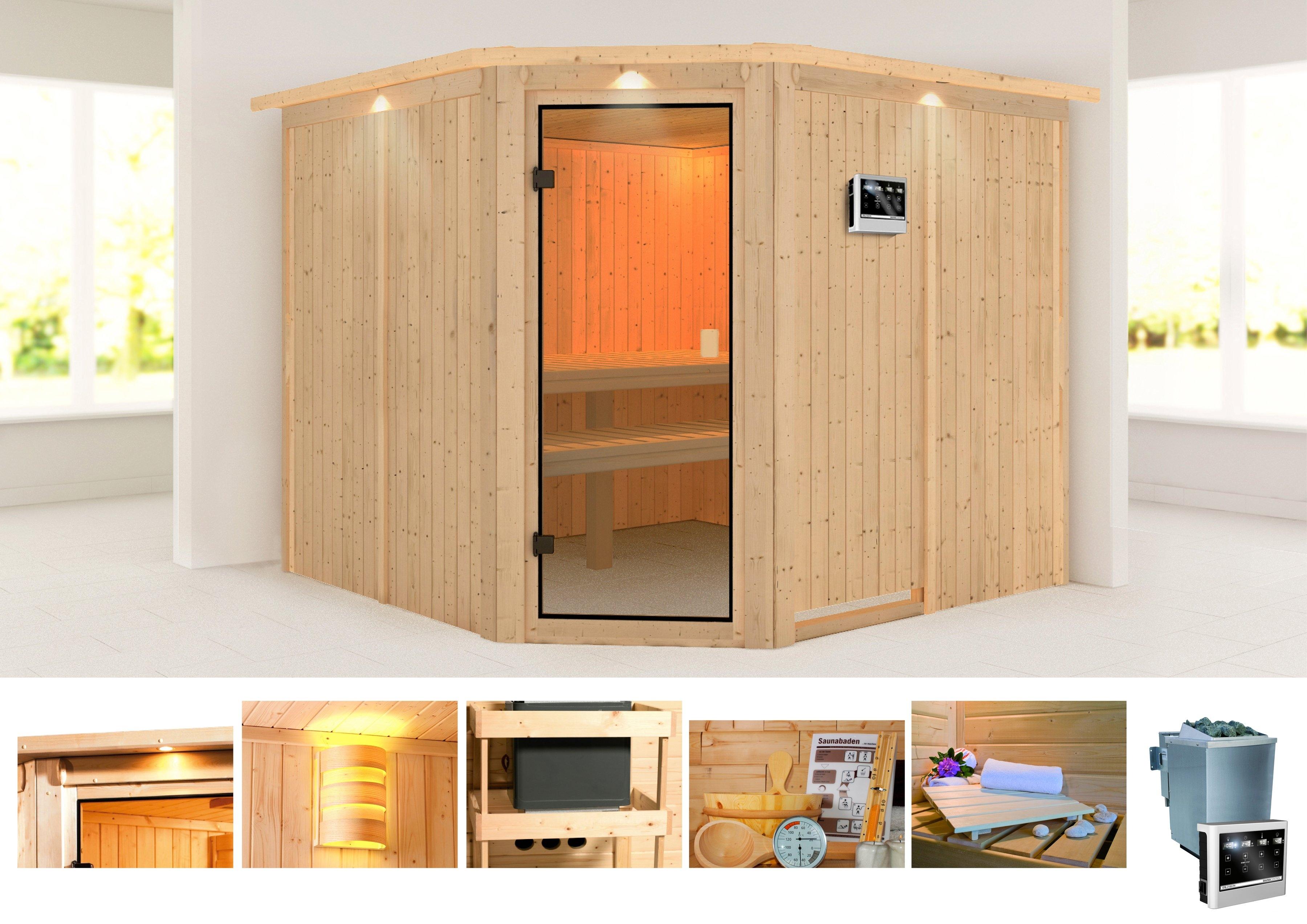 KONIFERA sauna »Manuela«, 231/231/198 cm, 9-KW-Bio-Ofen mit ext. Steuerung online kopen op otto.nl