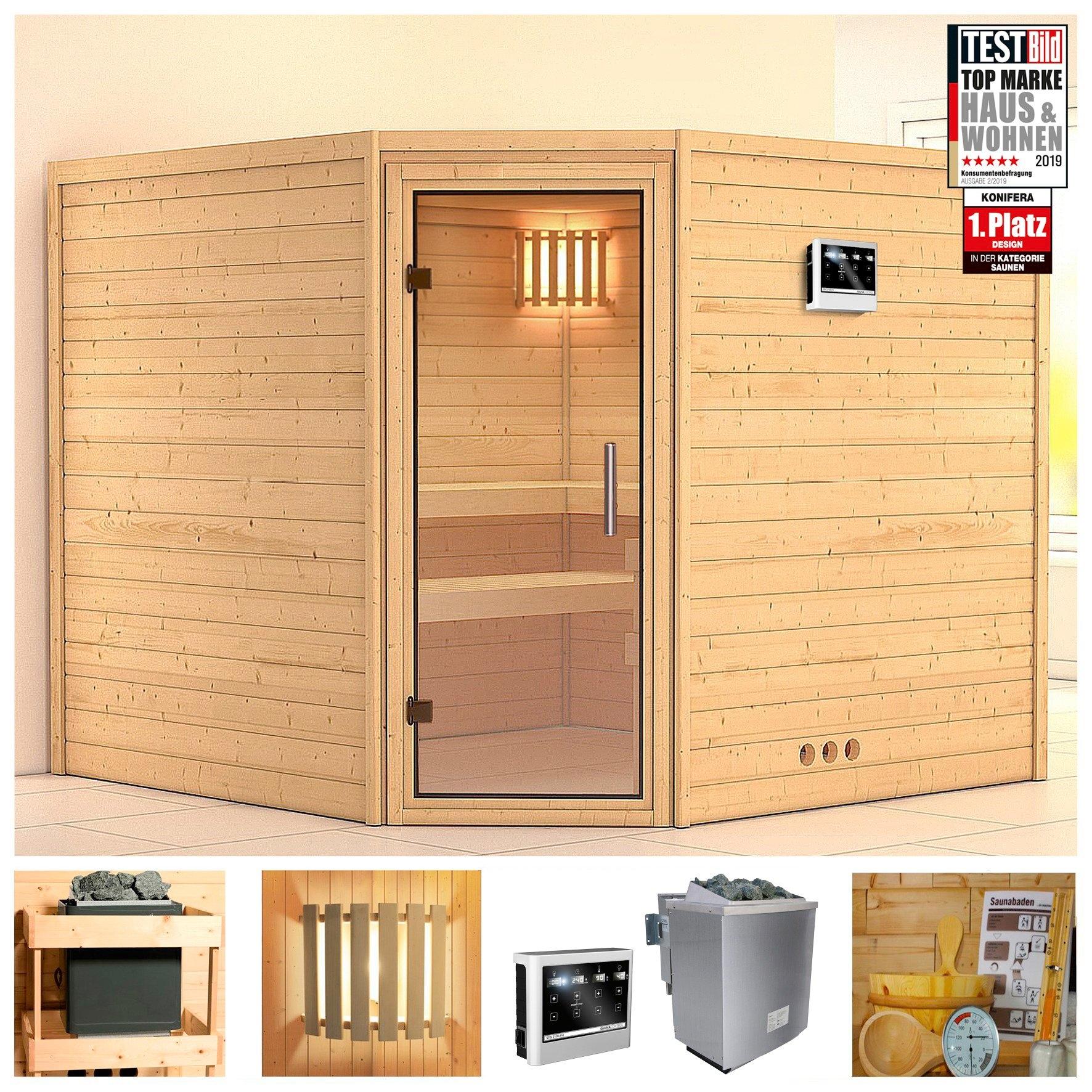 Konifera sauna »Leona«, 231/231/200 cm, 9-kW-Bio-Ofen mit ext. Strg., Glastür klar online kopen op otto.nl