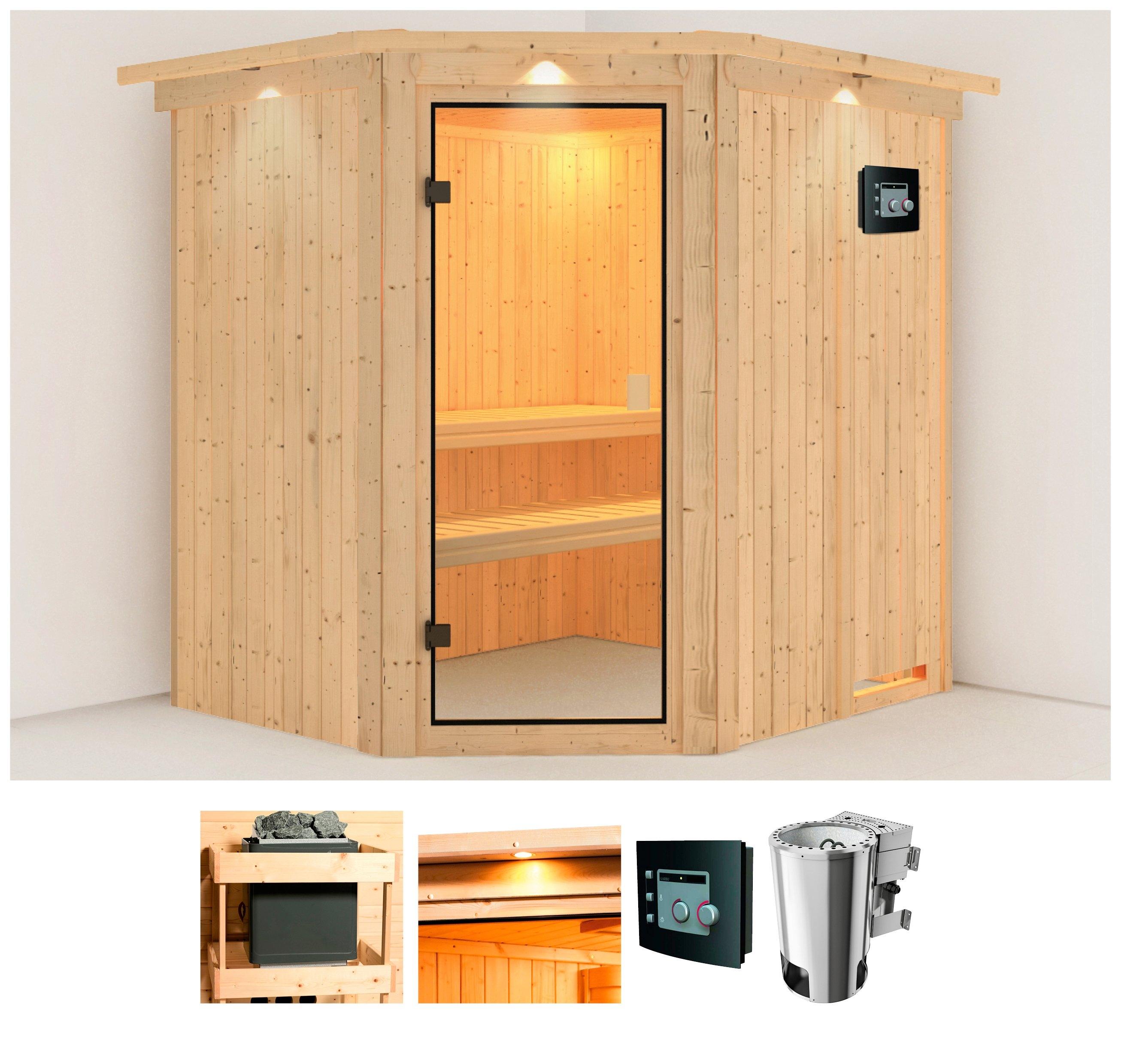 Karibu sauna »Holli«, 210x184x202 cm, 3,6 kW Plug & Play Bio-Ofen mit ext. Strg. - verschillende betaalmethodes