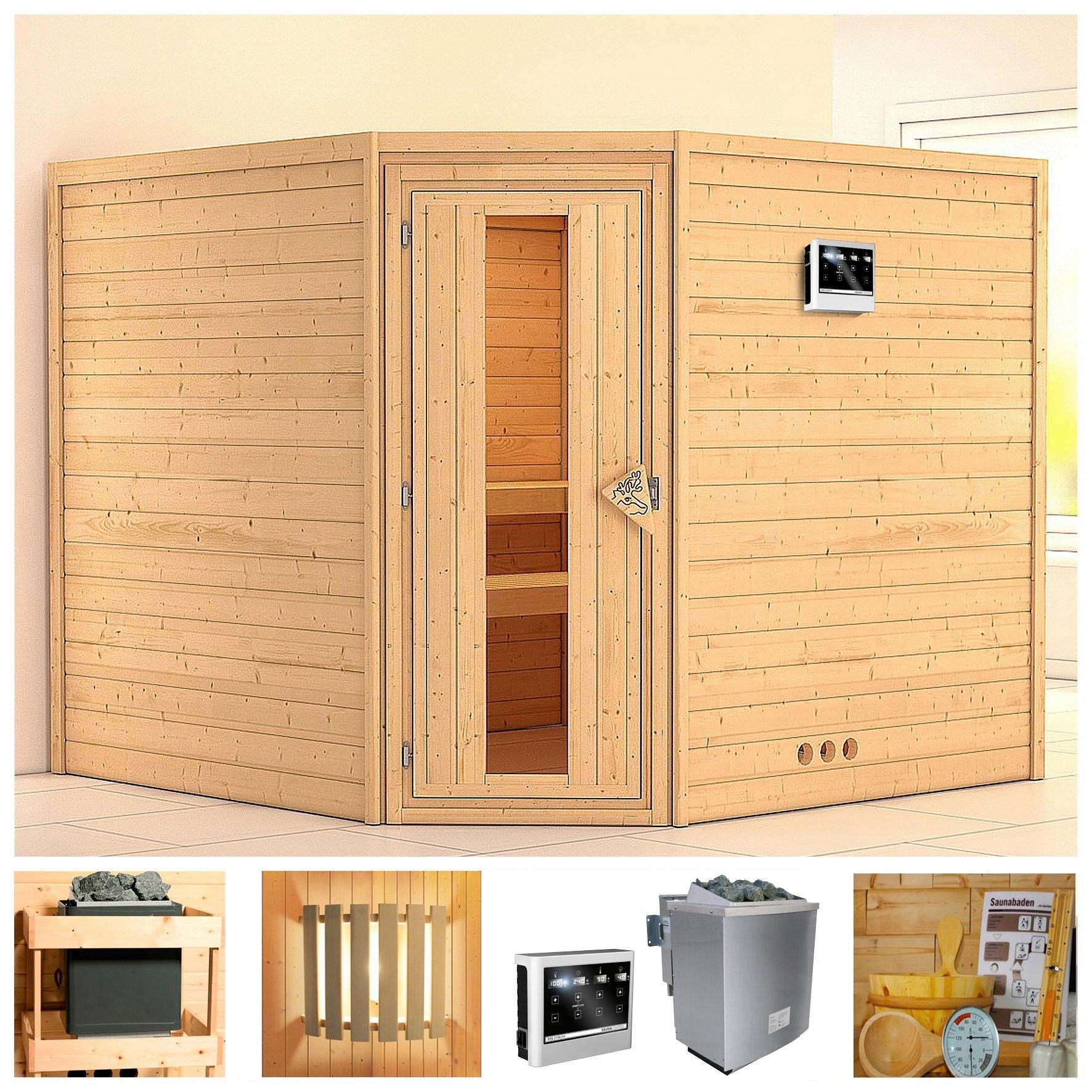 KONIFERA sauna »Leona«, 231/231/200 cm, 9-kW-Bio-Ofen mit ext. Strg., Holztür bestellen: 30 dagen bedenktijd