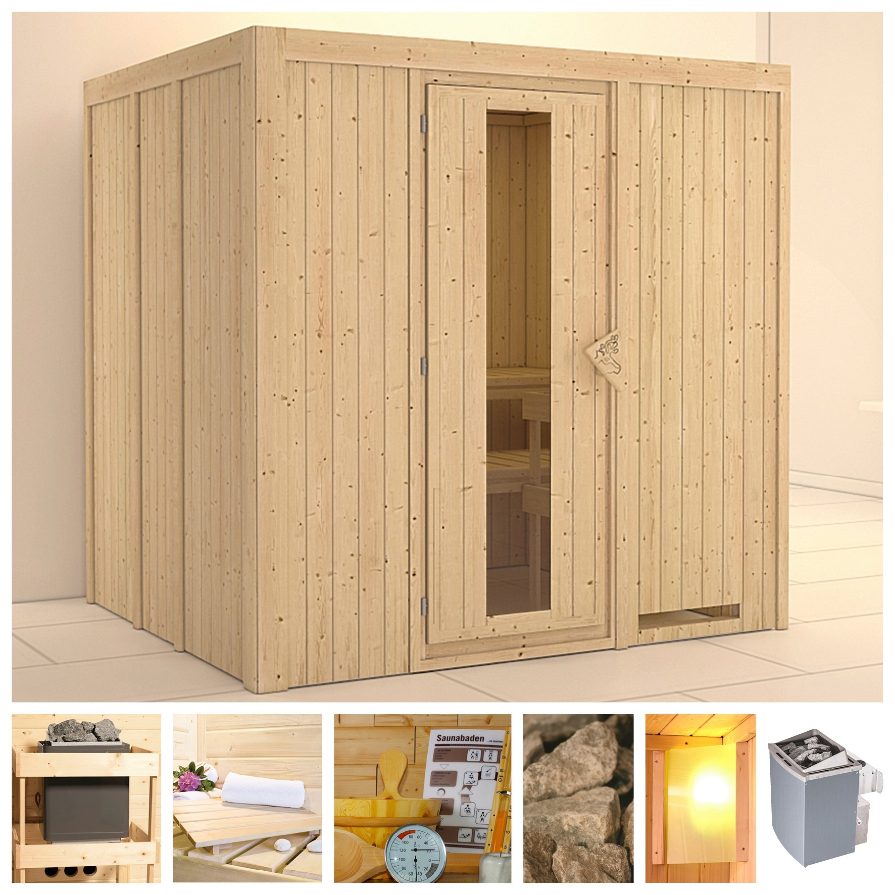 Op zoek naar een KONIFERA sauna »Sodin«, 196/170/198 cm, 9-kW-Ofen mit int. Steuerung, Holztür? Koop online bij OTTO