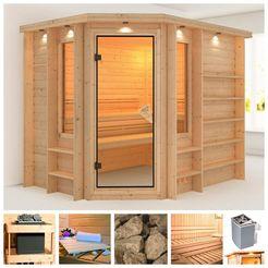 karibu sauna »riona«, 259x210x206 cm, 9 kw kachel met int. bediening, dakrand beige