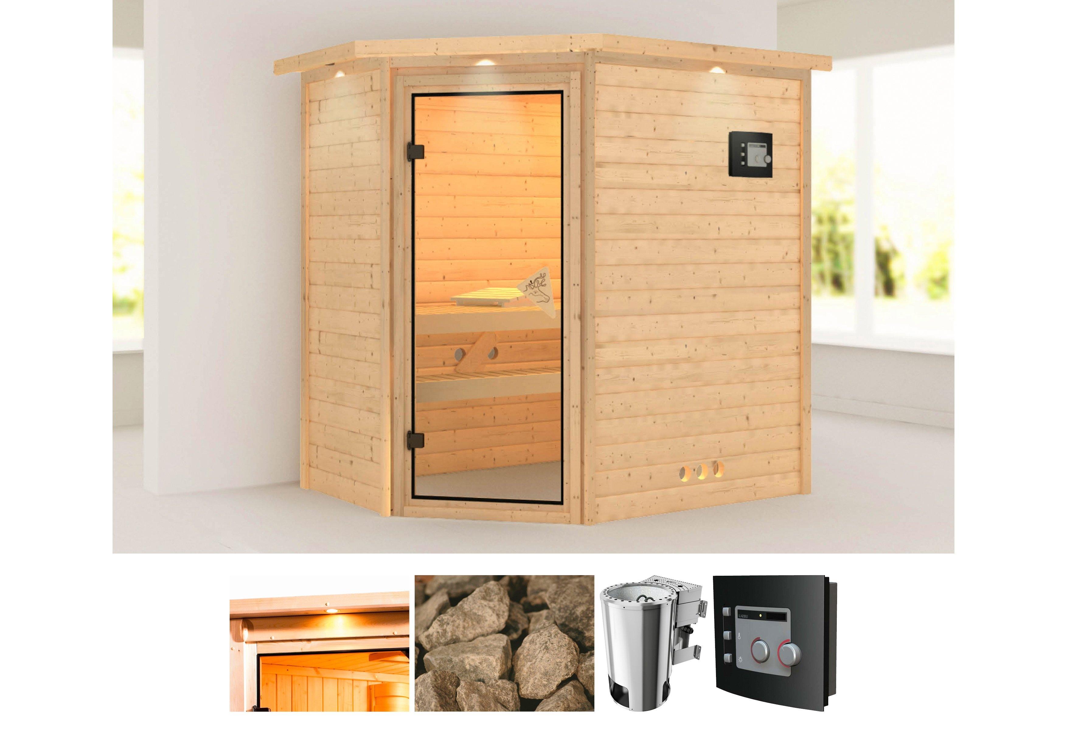Karibu sauna »Cilja«, 224x160x202 cm, 3,6 kW Plug & Play Bio-Ofen mit ext. Strg. bij OTTO online kopen