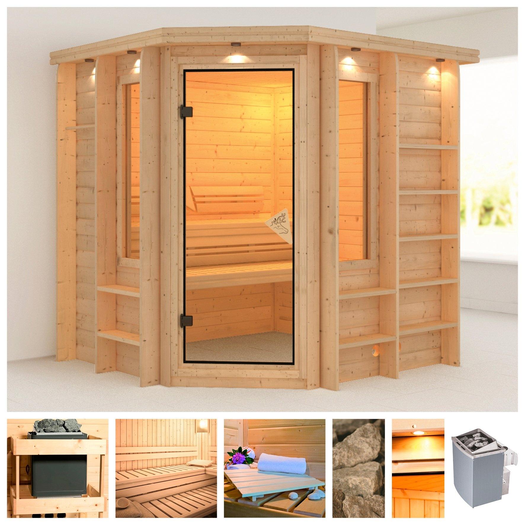 Karibu sauna »Cortona«, 224x210x206 cm, 9 kW kachel met int. bediening, dakrand nu online kopen bij OTTO