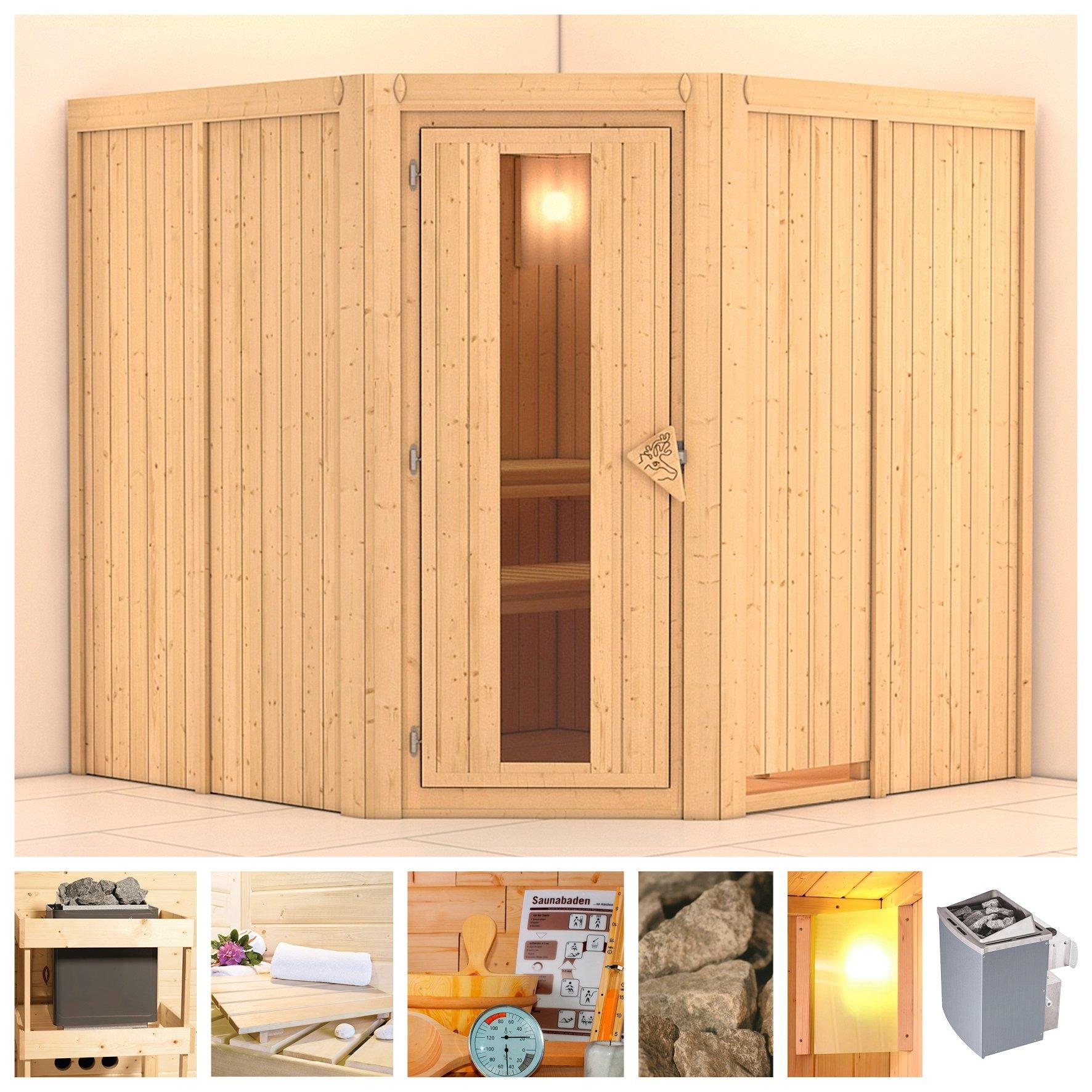 KONIFERA sauna »Jarin«, 196/196/198 cm, 9-kW-Ofen mit int. Steuerung, Holztür bij OTTO online kopen