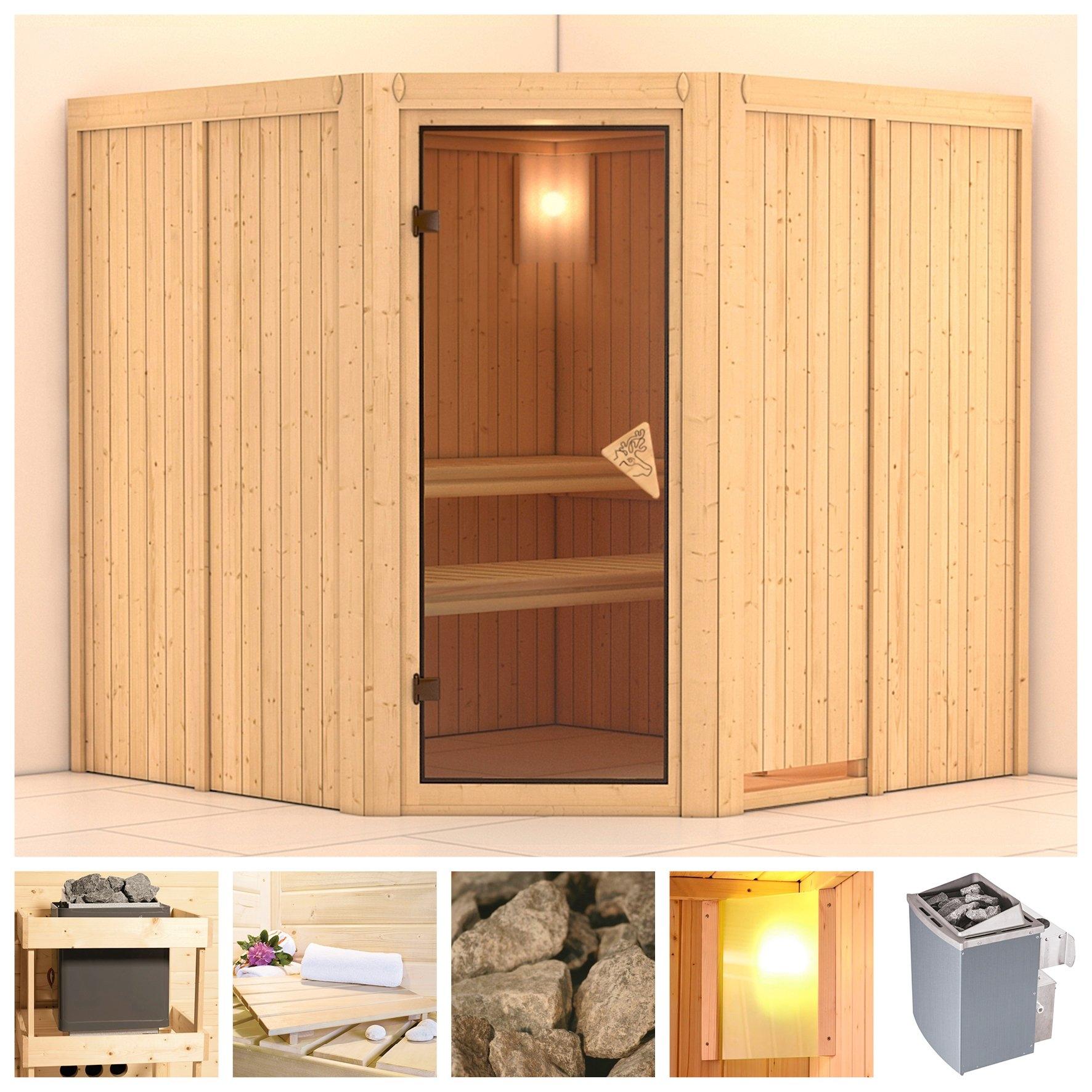 KONIFERA sauna »Jarin«, 196/196/198 cm, 68 mm, 9-kW-Ofen mit int. Steuerung bij OTTO online kopen