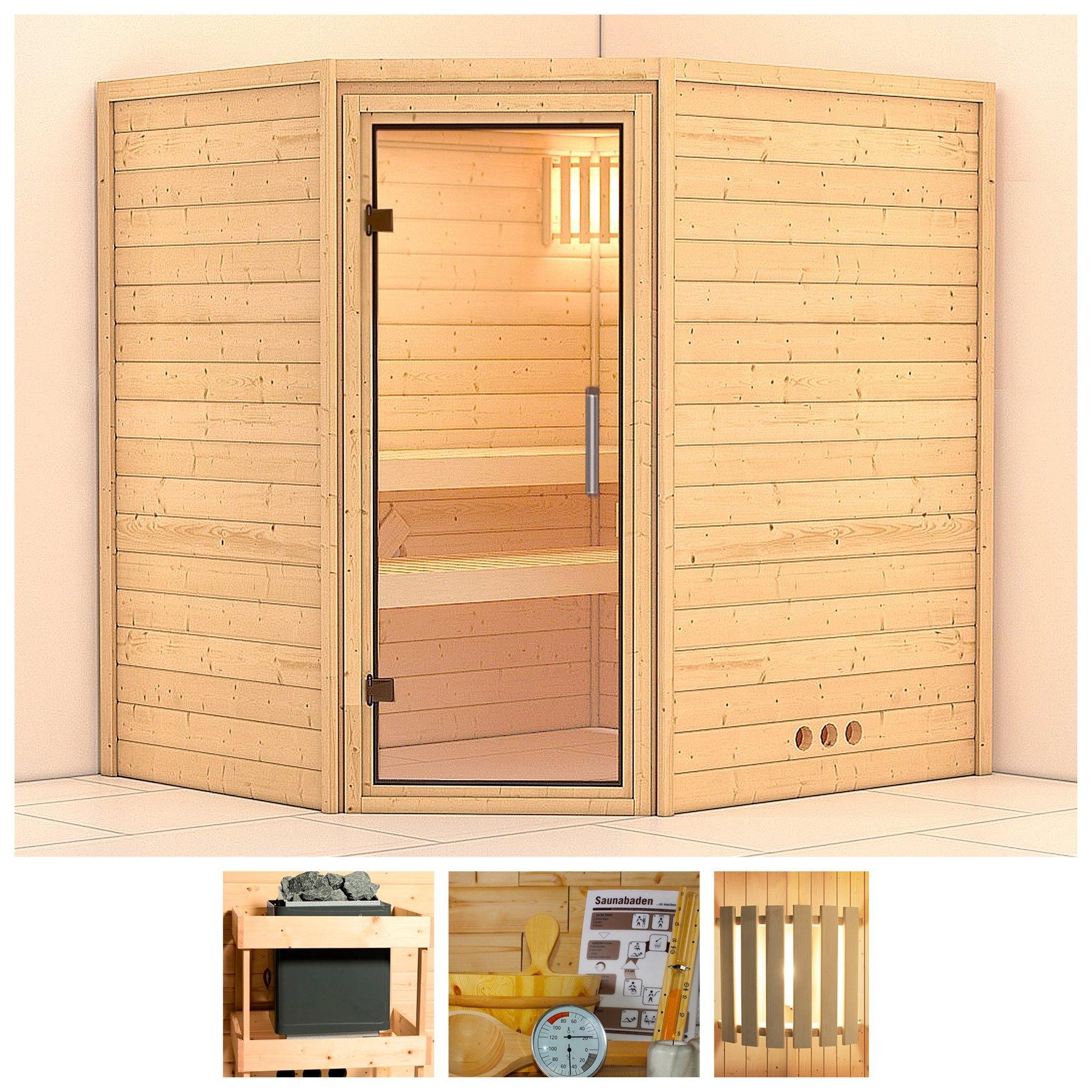 KONIFERA sauna »Mia«, 196/170/200 cm, ohne Ofen, Glastür klar online kopen op otto.nl