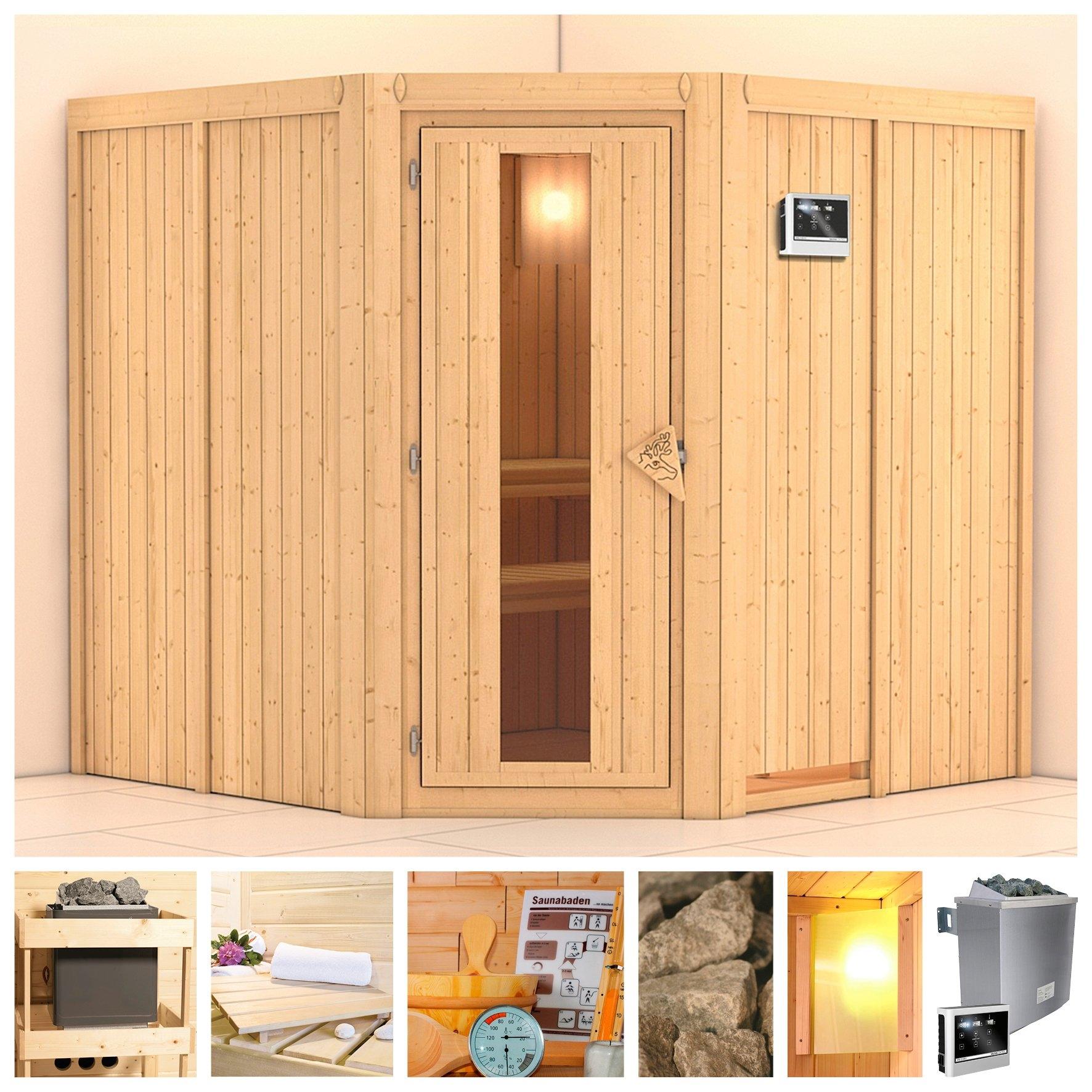 KONIFERA sauna »Jarin«, 196/196/198 cm, 9-kW-Ofen mit ext. Steuerung, Holztür in de webshop van OTTO kopen