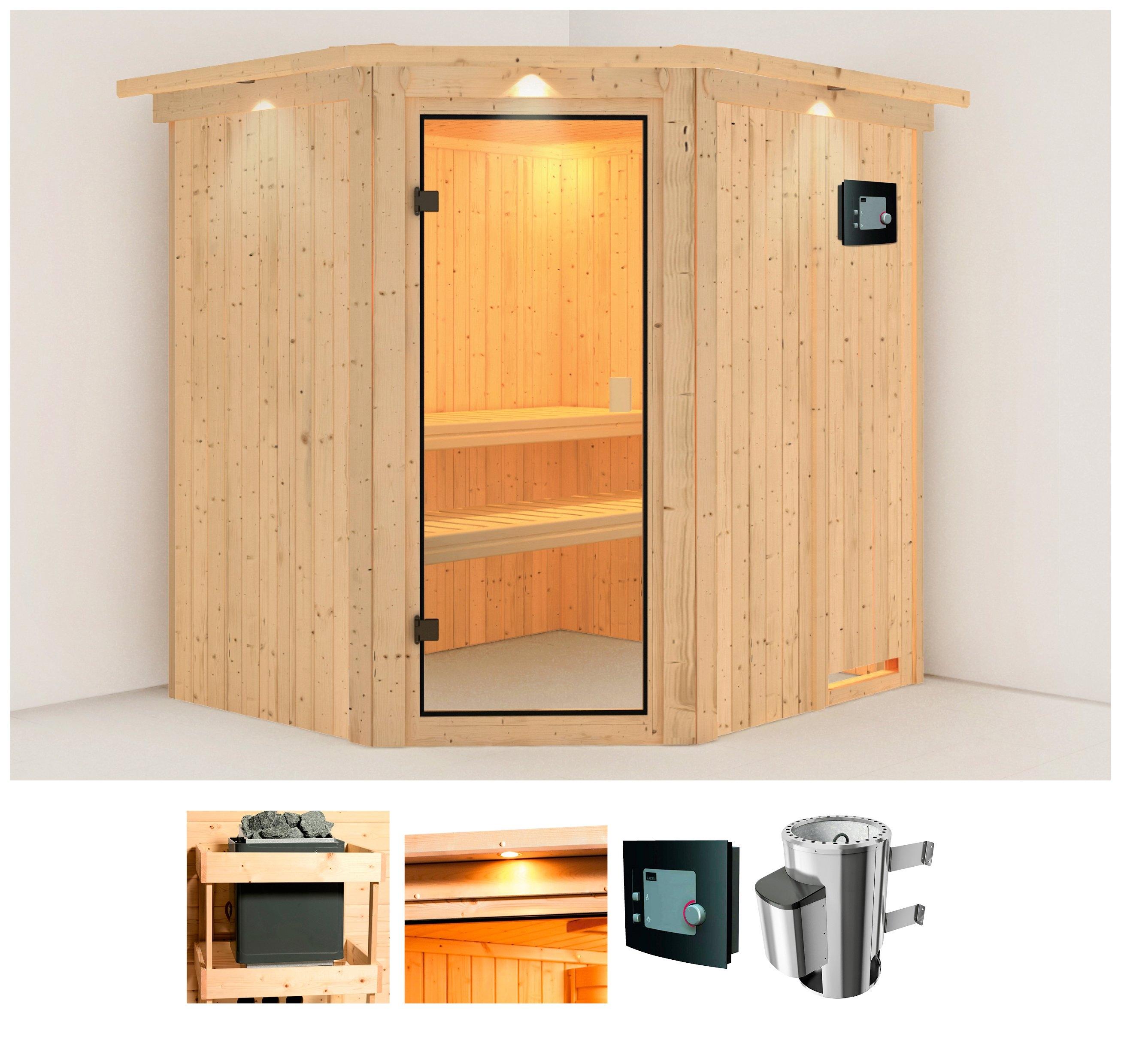 Op zoek naar een Karibu sauna »Holli«, 210x184x202 cm, 3,6 kW Plug & Play Ofen mit ext. Steuerung? Koop online bij OTTO
