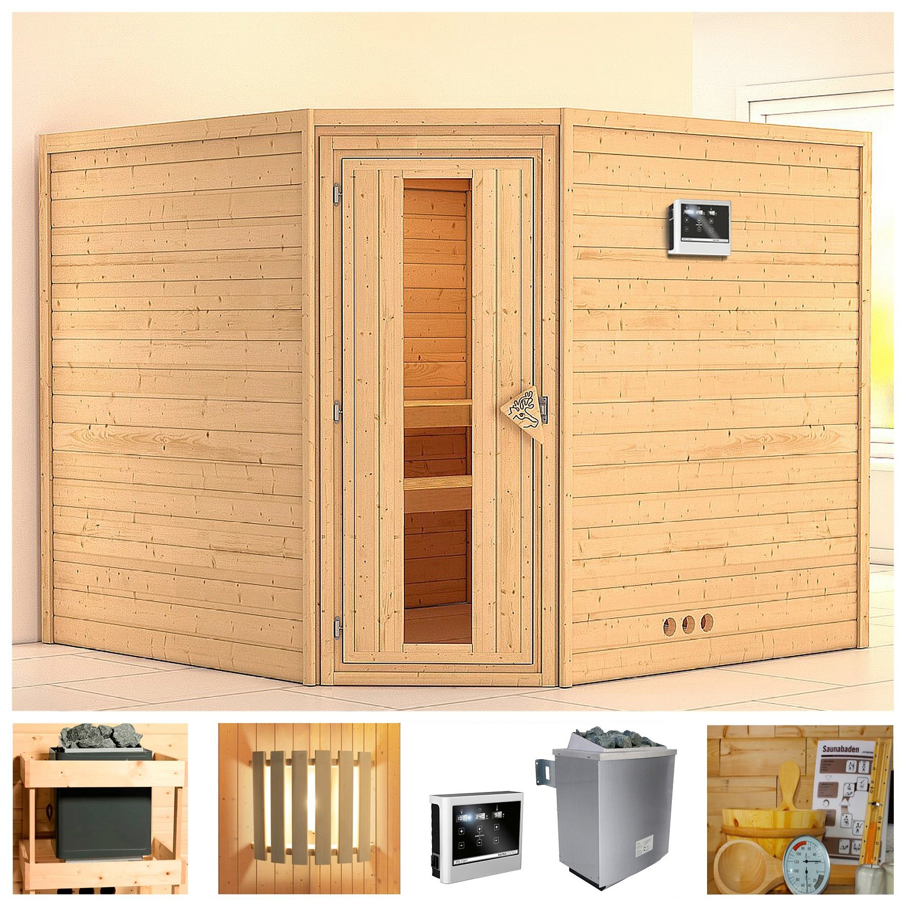 Konifera sauna »Leona«, 231/231/200 cm, 9-kW-Ofen mit ext. Steuerung, Holztür goedkoop op otto.nl kopen
