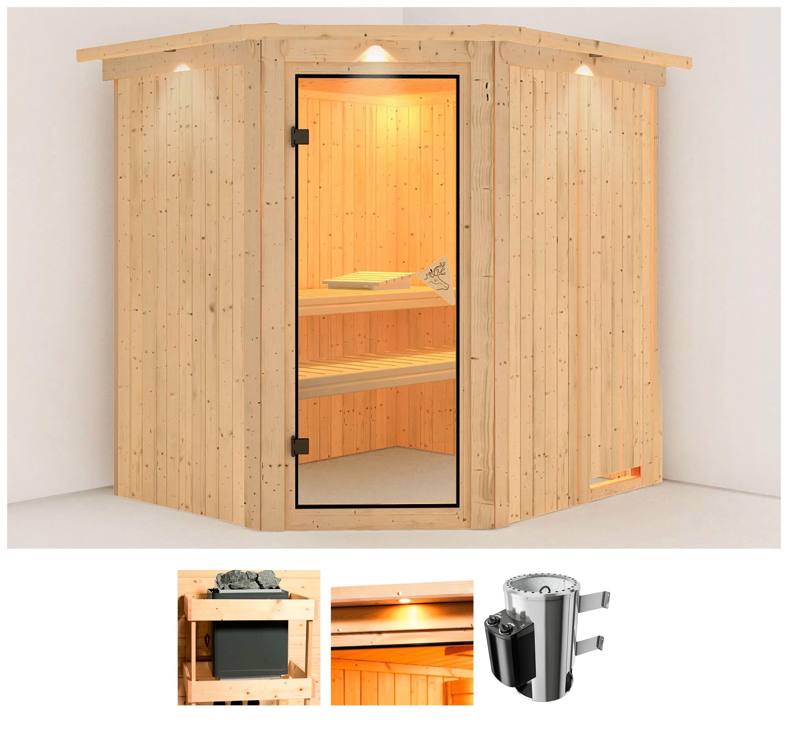 Karibu sauna »Holli«, 210x184x202 cm, 3,6 kW Plug & Play Ofen mit int. Steuerung online kopen op otto.nl