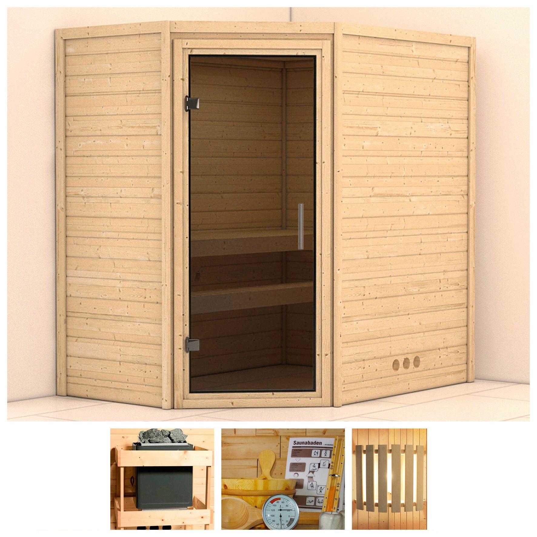 Konifera sauna »Svea«, 196/146/200 cm, ohne Ofen, Glastür grafit nu online bestellen