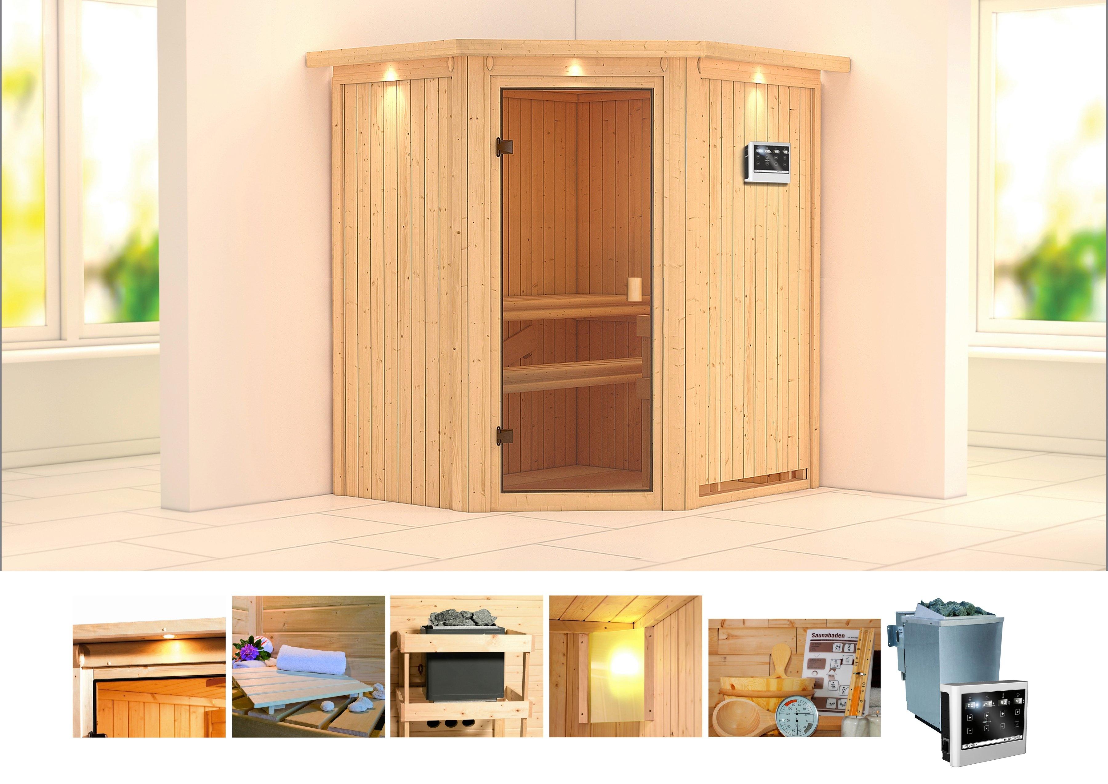 KONIFERA sauna »Taurin«, 184/165/202 cm, 9-KW-Bio-Ofen mit ext. Steuerung voordelig en veilig online kopen
