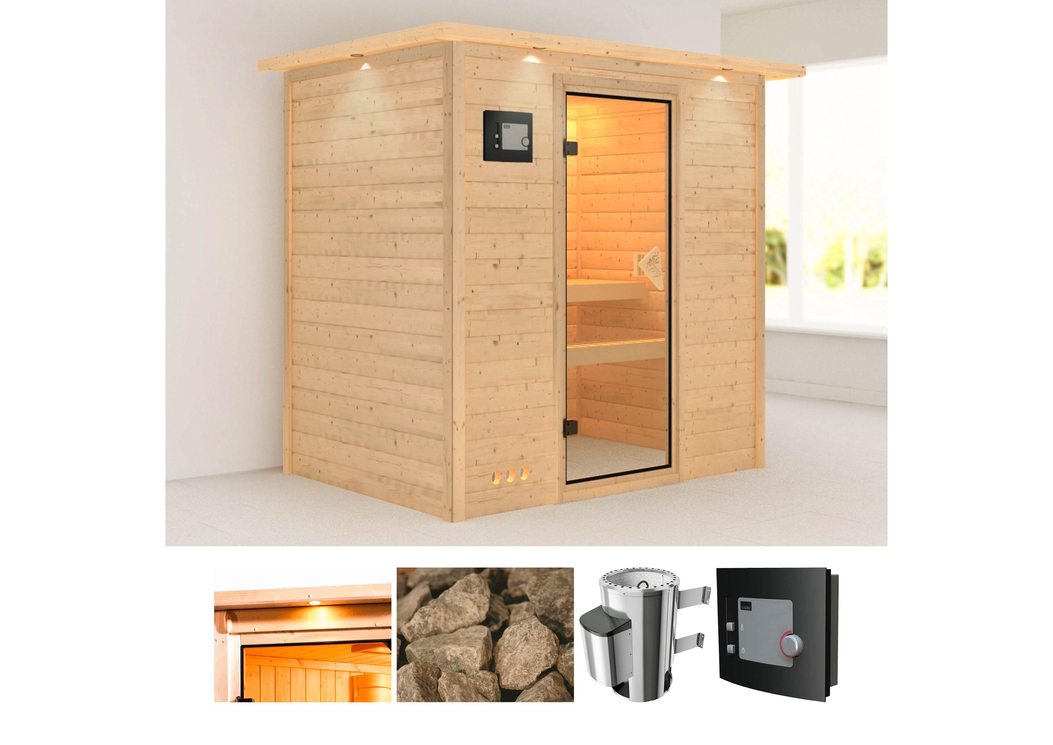 Karibu sauna »Ronja«, 224x158x202 cm, 3,6 kW Plug & Play Ofen mit ext. Steuerung - gratis ruilen op otto.nl