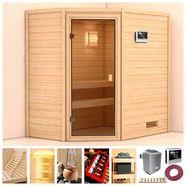 karibu sauna »langeoog«, 196x146x198 cm, 9 kw ofen mit ext. steuerung beige