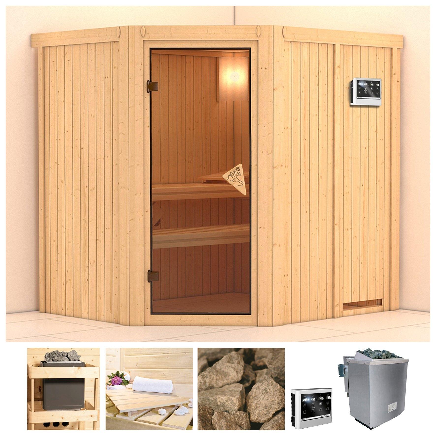 Konifera sauna »Siirin«, 196/170/198 cm, 68 mm, 9-kW-Bio-Kombiofen mit ext. Steuerung - verschillende betaalmethodes