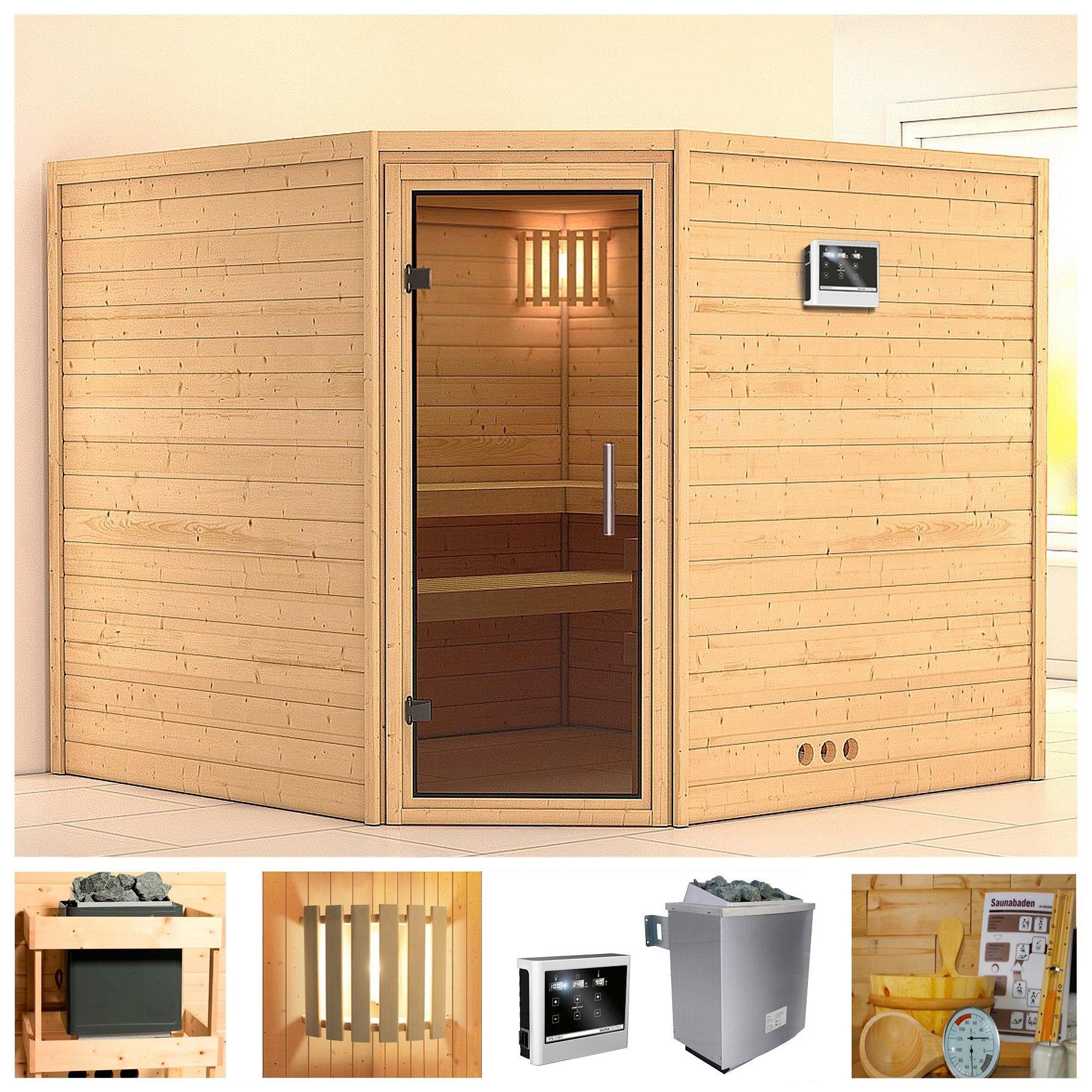 KONIFERA sauna »Leona«, 231/231/200 cm, 9-kW-Ofen mit ext. Steuerung, Glastür grafit in de webshop van OTTO kopen