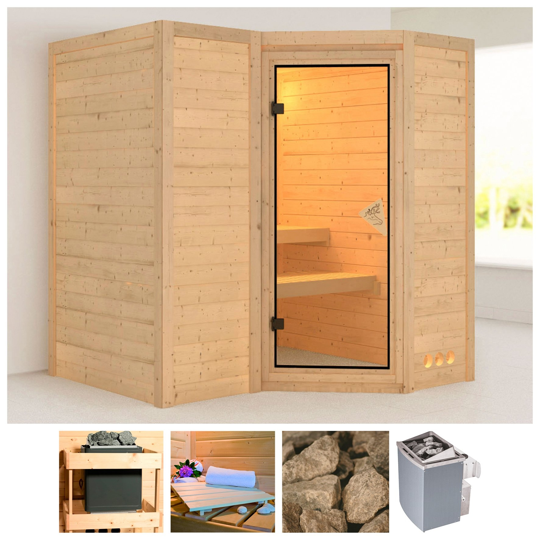 Karibu sauna »Sahib 1«, 193x184x208 cm, 9 kW Ofen mit int. Steuerung bestellen: 30 dagen bedenktijd