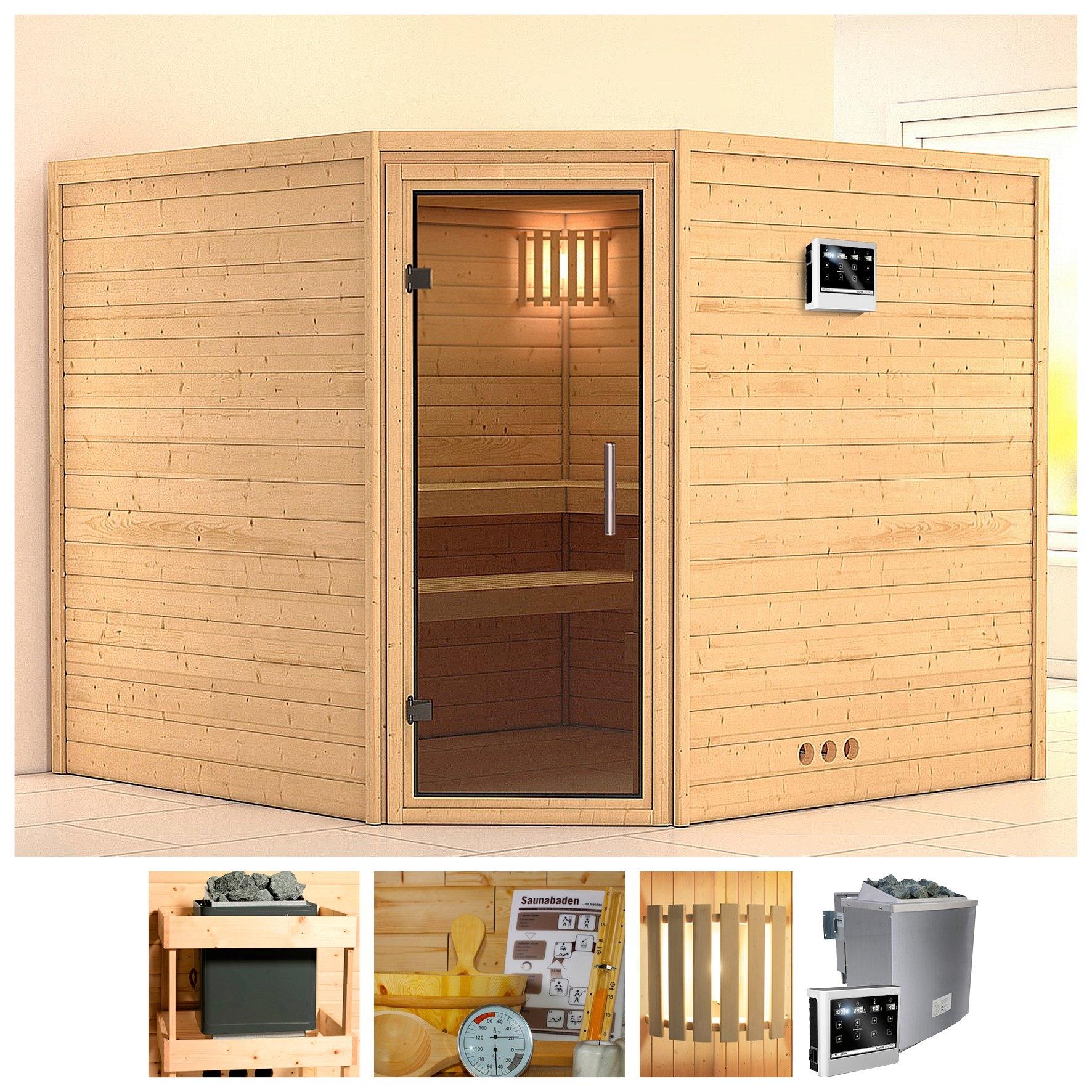 Konifera sauna »Leona«, 231/231/200 cm, 9-kW-Bio-Ofen mit ext. Strg., Glastür grafit nu online bestellen