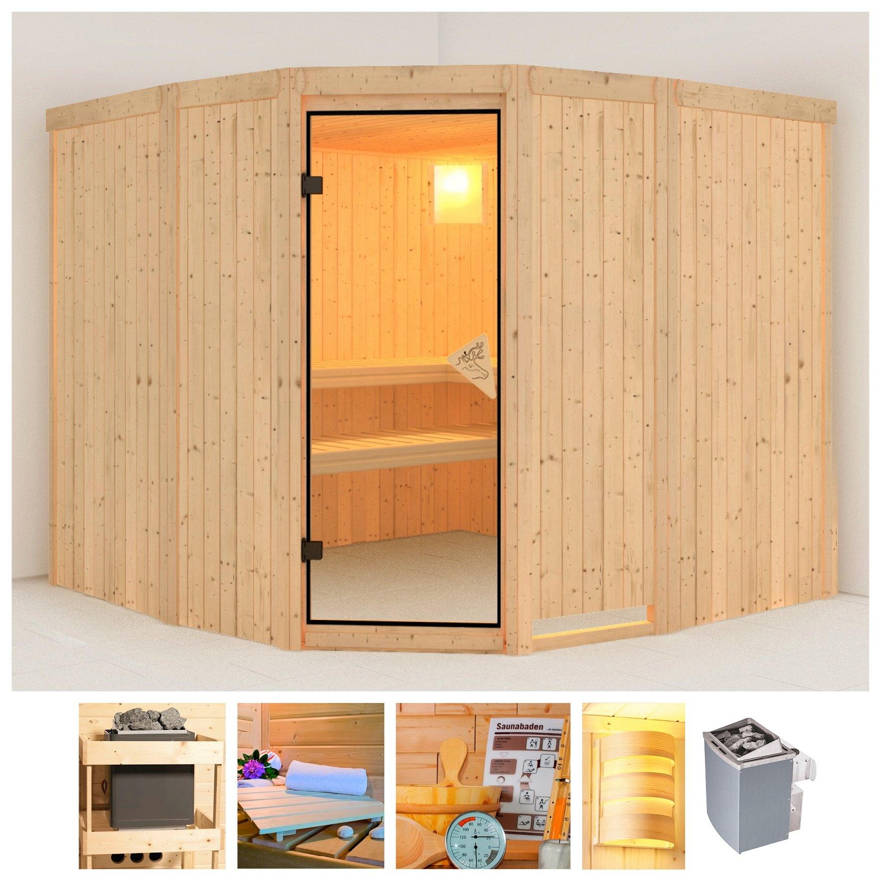 Konifera sauna »Simara 3«, 231x231x198 cm, 68 mm, 9-kW-Ofen mit int. Steuerung voordelig en veilig online kopen