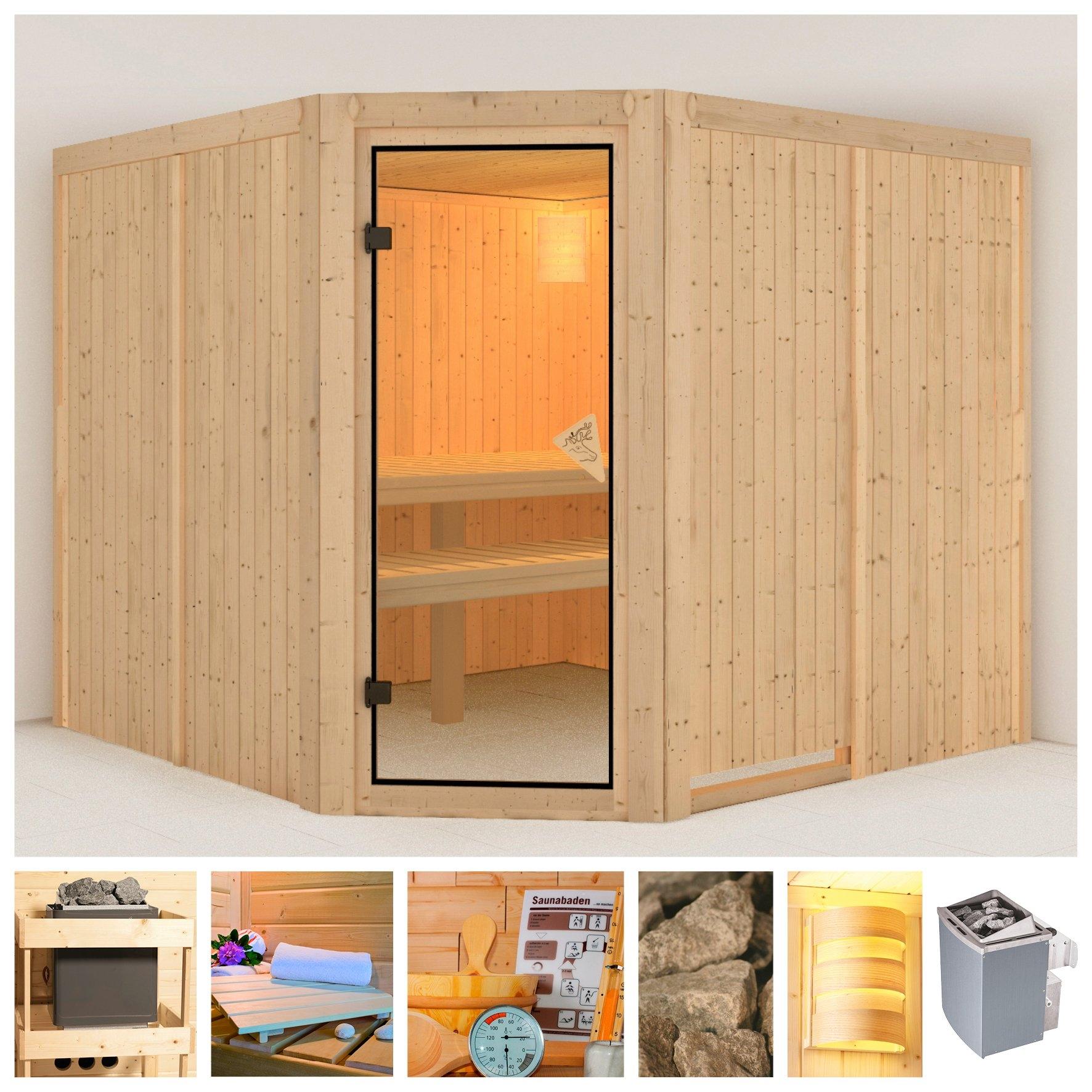 Op zoek naar een KONIFERA sauna »Manuela«, 231/231/198 cm, 68 mm, 9-kW-Ofen mit int. Steuerung? Koop online bij OTTO