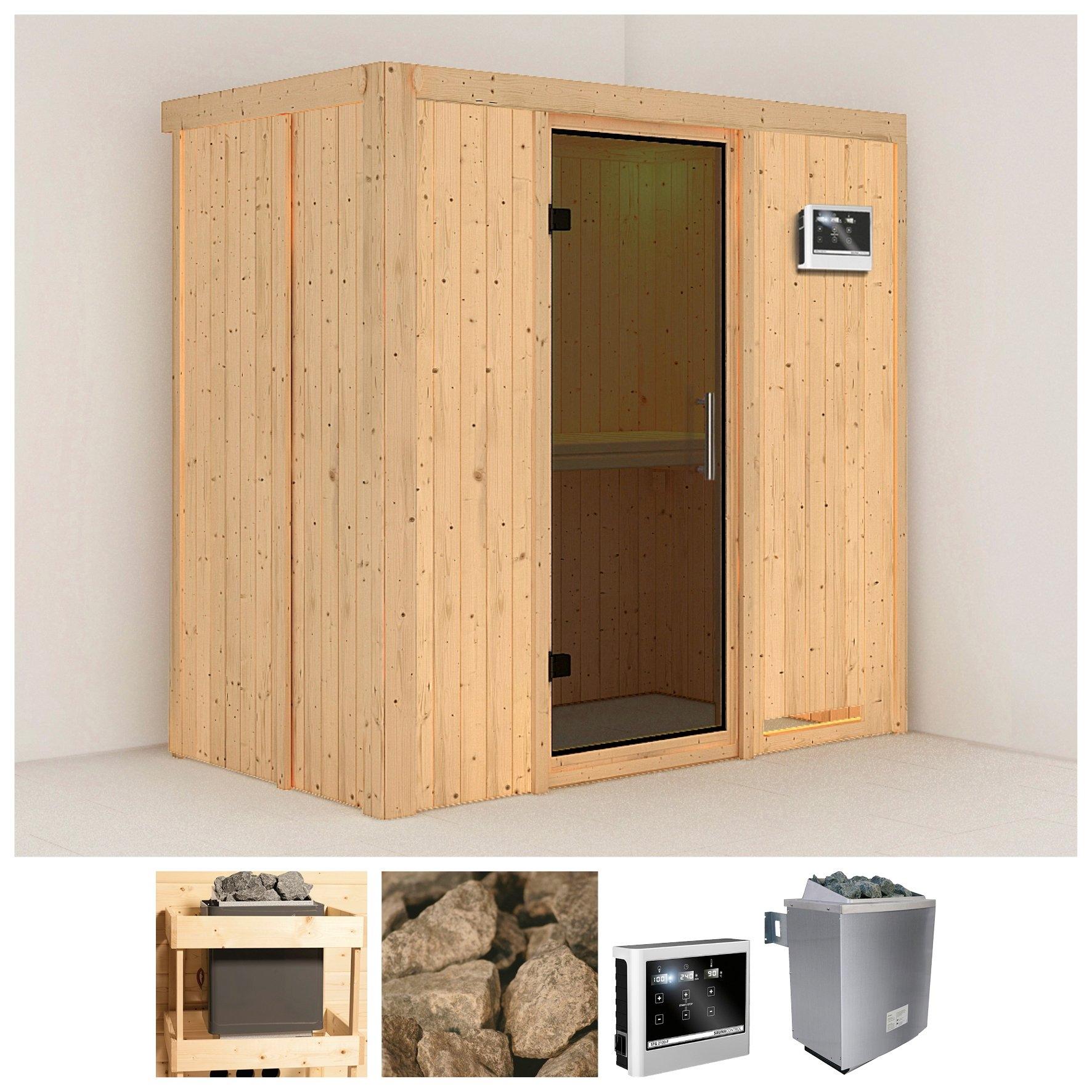 KONIFERA sauna »Variado«, 196/118/198 cm, 9-kW-Ofen mit ext. Steuerung, Glastür grafit goedkoop op otto.nl kopen