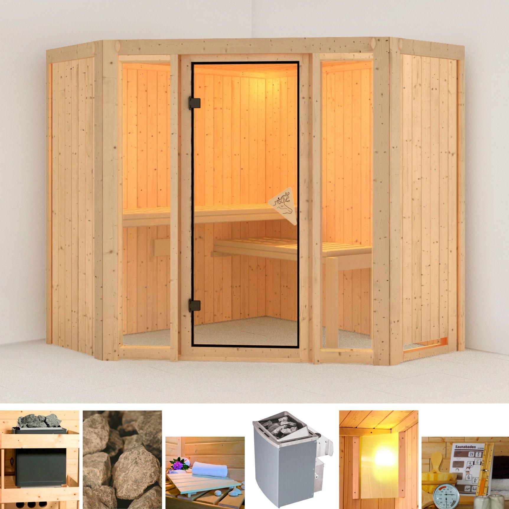 Karibu sauna »Flora 1«, 196x196x198 cm, 9 kW Ofen mit int. Steuerung - gratis ruilen op otto.nl