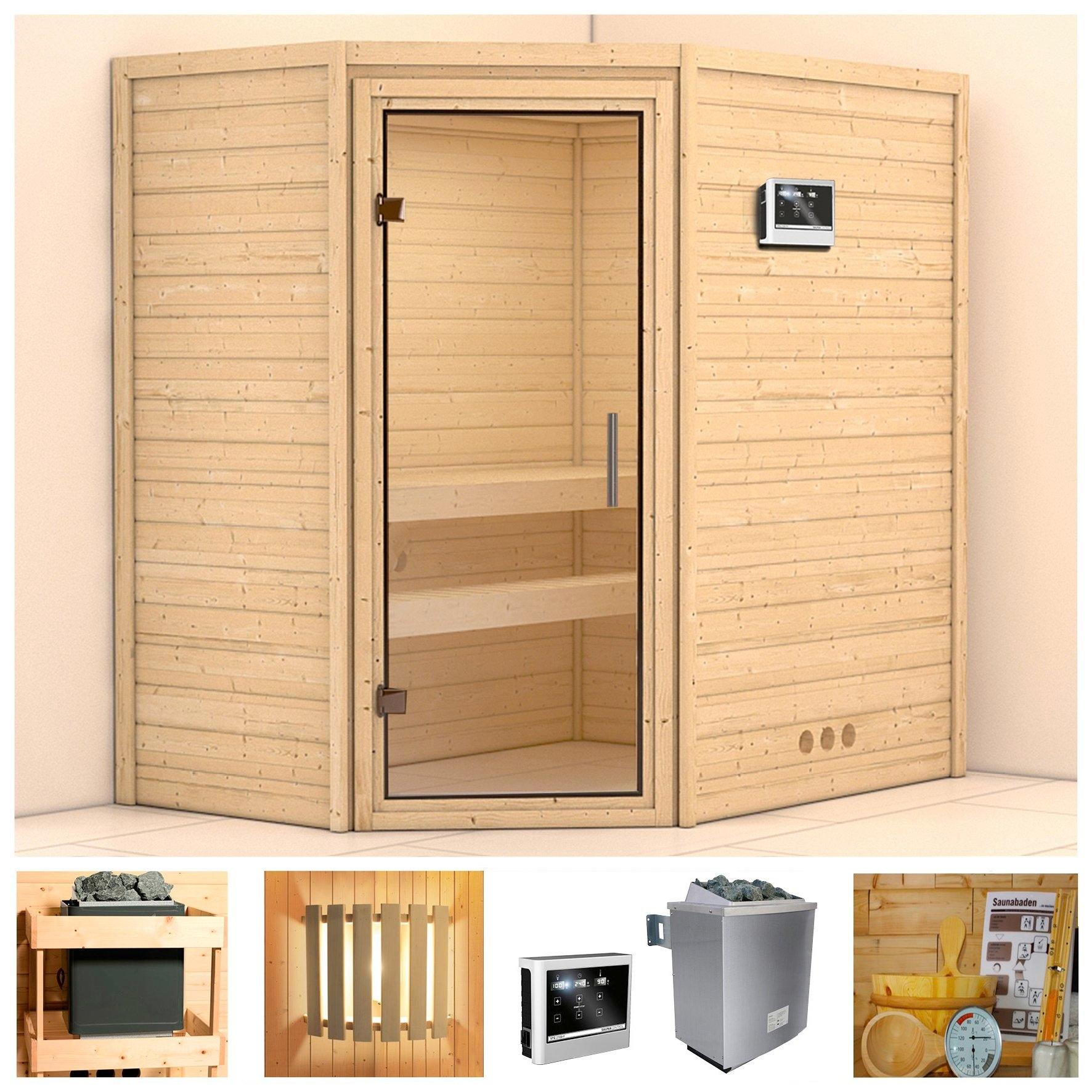 Konifera sauna »Svea«, 196/146/200 cm, 9-kW-Ofen mit ext. Steuerung, Glastür klar nu online kopen bij OTTO